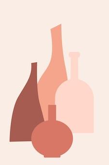Wazon boho minimalistyczny wzór tła. abstrakcyjna sylwetka wazonu do projektowania tagów sklepu z pamiątkami, ulotki sklepu z dekoracjami do domu, nadruku koszulki, reklamy rynkowej itp.