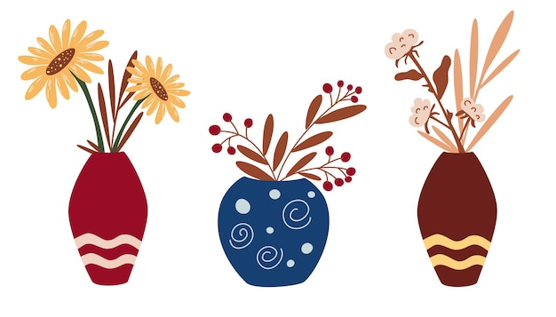 Wazony z suszonymi kwiatami i jesiennymi kwiatami. zestaw dekoracji do wnętrza w stylu boho. słoneczniki, bawełna, suszone kwiaty. modny wystrój domu. stylowa koncepcja projektowania. ilustracja wektorowa