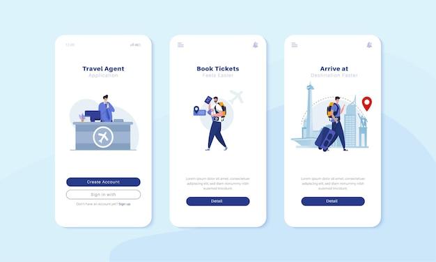 Wbudowany ekran mobilny z koncepcją ilustracyjną biura podróży