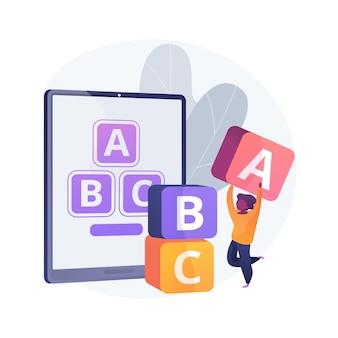 Wczesna ilustracja koncepcji abstrakcyjnej aplikacji do nauki. aplikacja przedszkolna, platforma wczesnej edukacji, rutyna nauki dzieci, nauka oprogramowania, aplikacja mobilna do rozwoju dziecka