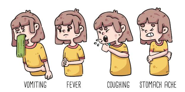 Wczesne objawy wymiotów koronawirusa, gorączka, kaszel i ból brzucha po rysowaniu dziewczynki