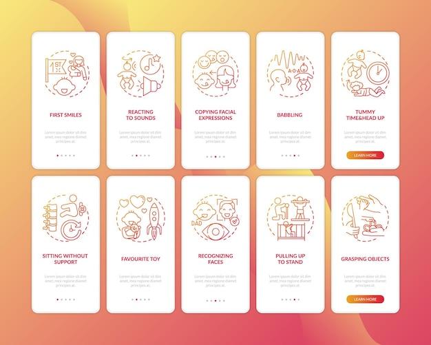 Wczesny rozwój dzieciństwa na ekranie strony aplikacji mobilnej z ilustracjami pojęć
