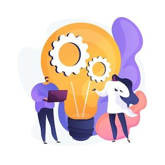 Wdrożenie nowego pomysłu. kreatywne myślenie, innowacyjne rozwiązania, projekt startupowy. koledzy, partnerzy omawiający strategię marketingową. ilustracja wektorowa na białym tle koncepcja metafora