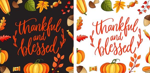 Wdzięczny i błogosławiony. koncepcja dziękczynienia z płaskiej konstrukcji. szczęśliwa koncepcja dziękczynienia z napisem