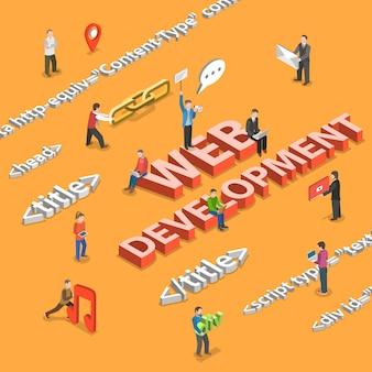Web development płaski izometryczny