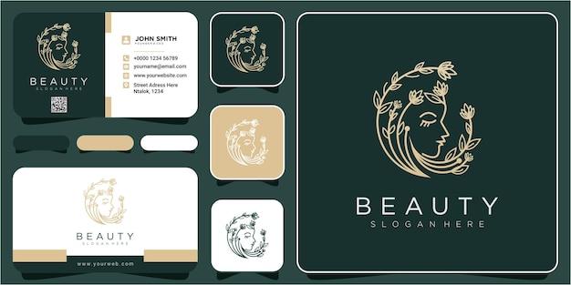Web face beauty line kwiat inspiracja do projektowania logo. projektowanie logo urody