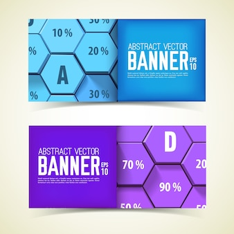 Web geometryczne poziome bannery z niebieskimi i fioletowymi sześciokątami 3d i procent na białym tle