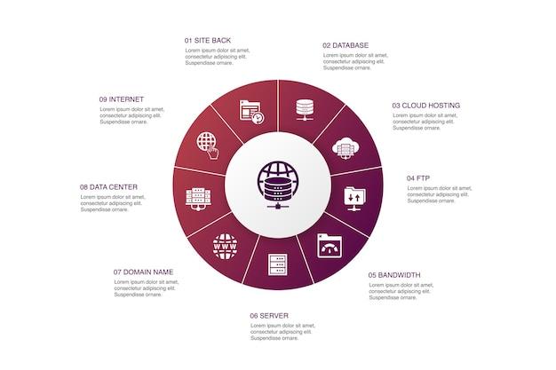 Web hosting infografika 10 kroków koło projekt. nazwa domeny, przepustowość, baza danych, proste ikony internetowe