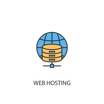 Web hosting koncepcja 2 kolorowa ikona linii. prosta ilustracja elementu żółty i niebieski. koncepcja hostingu internetowego projekt symbolu konspektu