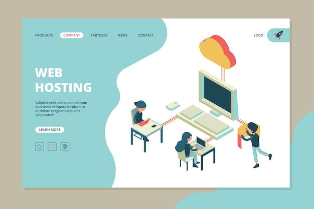 Web hosting landing. biznesowa strona internetowa komputer chmura serwer sprzęt technologia inżynieria szablon komunikacji internetowej