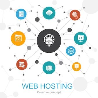 Web hosting modna koncepcja sieci web z ikonami. zawiera ikony takie jak nazwa domeny, przepustowość, baza danych, internet