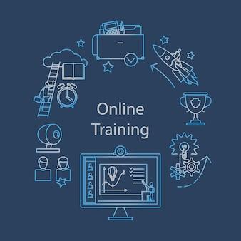 Webcast, e-learning i ikona zarysu wydarzenia online. edukacja na odległość. ilustracja wektorowa.