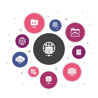 Webhosting infografika 10 kroków do projektowania bąbelków. nazwa domeny, przepustowość, baza danych, proste ikony internetowe