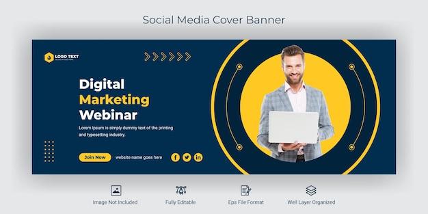 Webinar biznesowa konferencja biznesowa w mediach społecznościowych szablon banera na okładkę na facebook