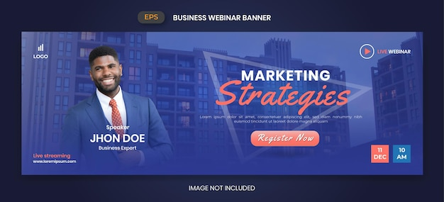Webinar biznesowy webinar na żywo i szablon banera korporacyjnego
