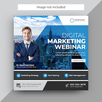 Webinar dotyczący marketingu cyfrowego szablon posta w mediach społecznościowych, szablon posta na instagramie