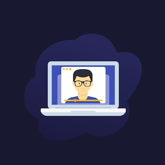 Webinar, edukacja online, e-learning ilustracja wektorowa