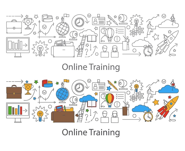 Webinar i baner komunikacji internetowej w stylu doodle linii doodle