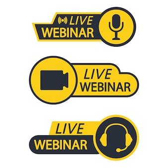 Webinar na żywo przycisk, ikona, godło, etykieta. podstawowe ikony do wideokonferencji, webinaru, czatu wideo. kurs online, edukacja na odległość, wykład wideo, internetowa konferencja grupowa. ikona transmisji