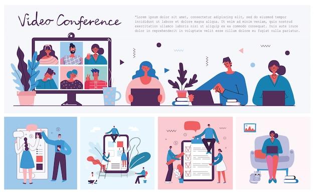 Webinarium internetowe rozwiązanie biznesowe. ludzie używają czatu wideo na komputerze stacjonarnym i laptopie do prowadzenia konferencji. pracuj zdalnie z domu.