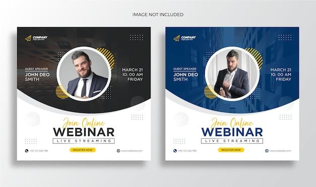 Webinarium na żywo konferencja biznesowa post w mediach społecznościowych i szablon banera internetowego premium wektorów