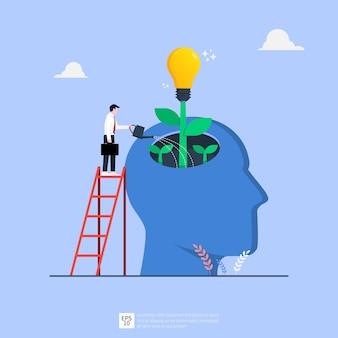 Webtiny biznesmen podlewanie pomysł żarówki z dużej ludzkiej głowy ilustracji. koncepcja pomysł na biznes
