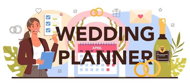 Wedding planner typograficzne nagłówek. profesjonalne planowanie organizatora