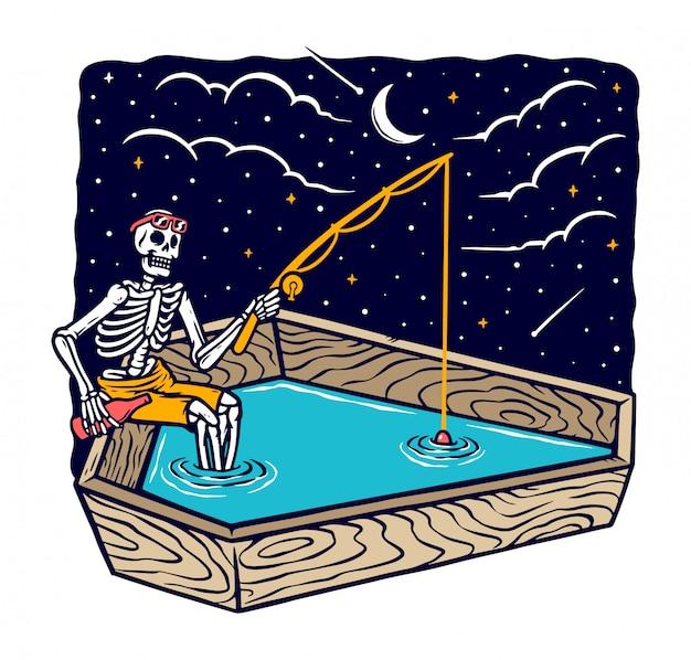 Wędkowanie w nocy ilustracja
