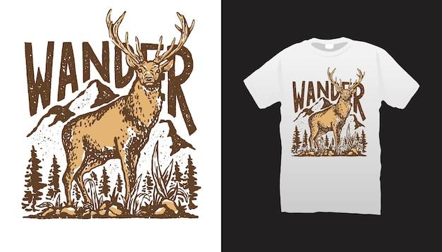 Wędrówka ilustracja jelenia