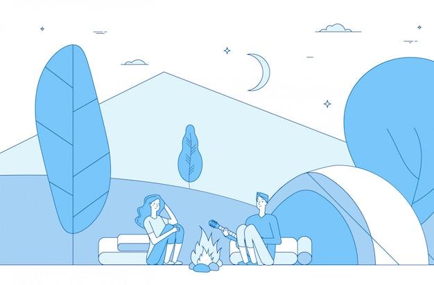 Wędrówki ludzi na kempingu. turyści w obozie letnim. podróżowanie z rodziną, wczasowicze na wakacjach. osoby przy ognisku. koncepcja linii