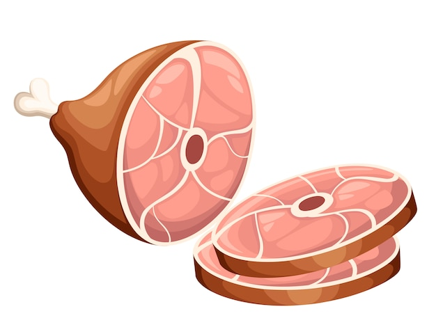 Wędzony produkt mięsny szynka z kością i dwa plastry ilustracja na białym tle strony internetowej i aplikacji mobilnej