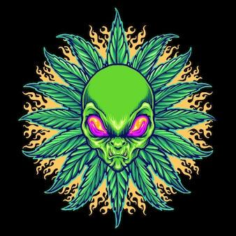 Weed alien cannabis mandala with fire vector ilustracje do twojej pracy logo, koszulka z towarem maskotka, naklejki i projekty etykiet, plakat, kartki okolicznościowe reklamujące firmę lub marki.