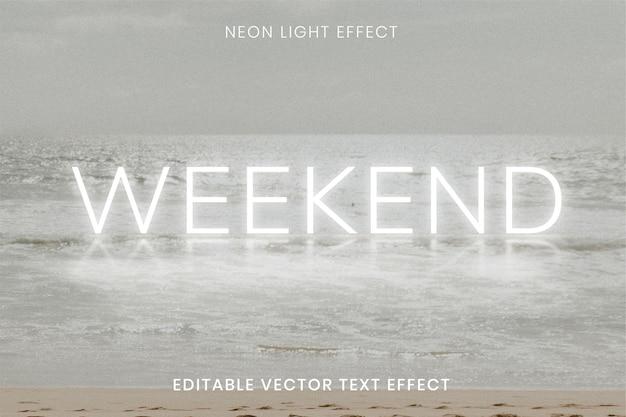 Weekend biały neonowy efekt tekstowy do edycji