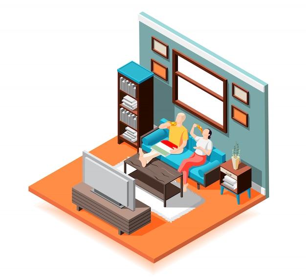 Weekendowa izometryczna skład pary para na kanapie podczas jedzenia dostarczanej pizzy przed telewizorem