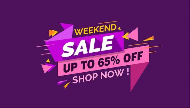 Weekendowa sprzedaż, kolorowy sprzedaż sztandar