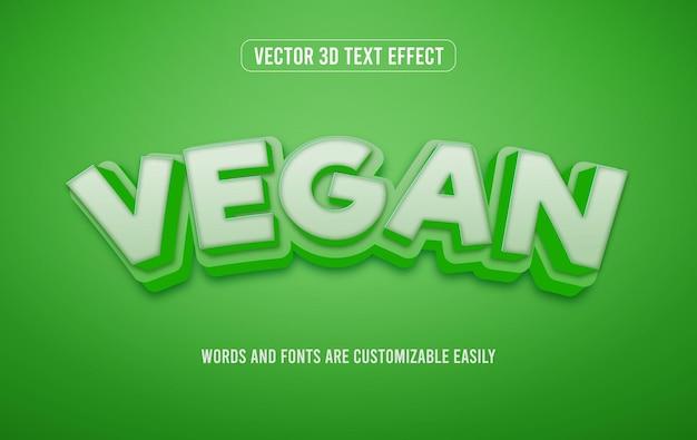 Wegański zielony styl 3d edytowalnego efektu tekstowego
