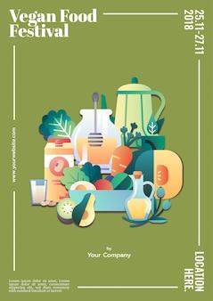 Wegańskie jedzenie festiwal plakat szablon makieta