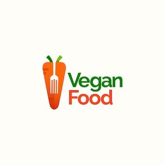 Wegańskie jedzenie koncepcja projektowania logo marchewka ilustracja