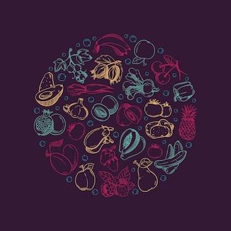 Wegańskie logo stylu życia ze świeżą naturalną żywnością.