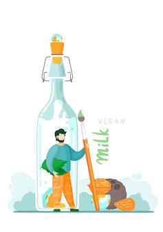 Wegańskie mleko orzechowe na bazie roślin.