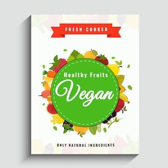 Wegańskie plakat, baner lub projekt ulotki ze zdrowymi owocami.