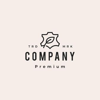 Wegańskie skórzane liście hipster garbowane warzywami vintage logo wektor ikona ilustracja