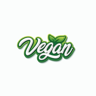 Wegańskie typografia projektowanie logo wektor premium