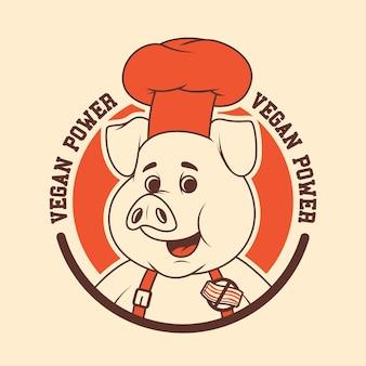 Wegetariańska świnia. wegańskie, jedzenie, zdrowe, projekt maskotki