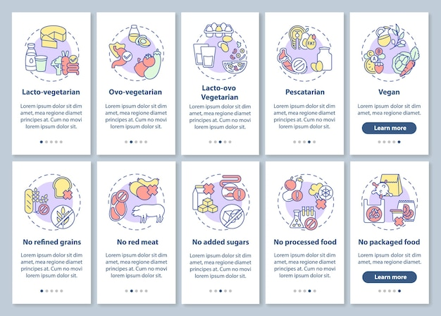 Wegetariański styl życia wprowadzający ekran strony aplikacji mobilnej z ustawionymi koncepcjami