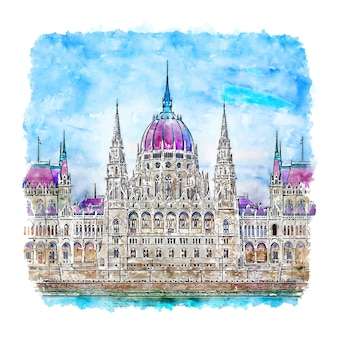 Węgierski parlament budapeszt szkic akwarela ręcznie rysowane ilustracji