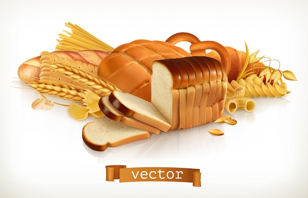 Węglowodany chleb, makaron, pszenica, płatki zbożowe. 3d ilustracji wektorowych