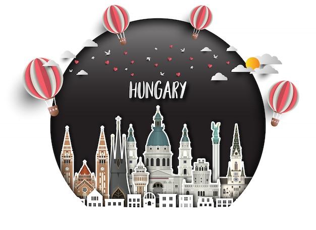 Węgry landmark global travel and journey tło papieru.