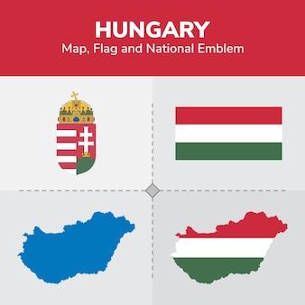Węgry mapa, flaga i godło państwowe