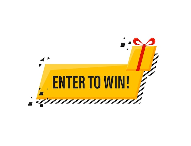 Wejdź, aby wygrać nagrody megafon żółty sztandar w stylu 3d na białym
